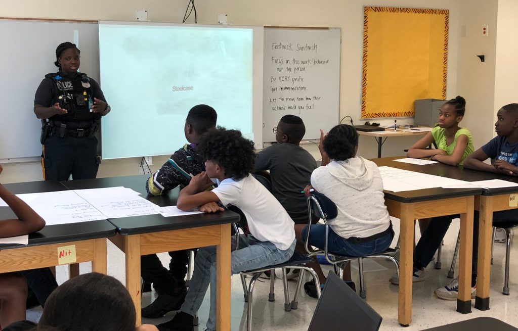 Huge thank you to Officer Worley, a Trenton native, for coming in to speak to our scholars about gun violence from a police perspective.
