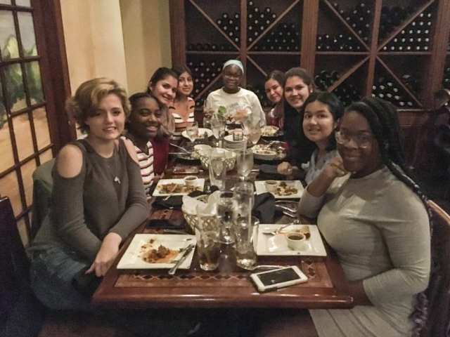 Girls night out for dinner! Students enjoy dinner together alongside chaperones Ms. Nahal and Ms. Klimek.