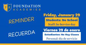 Friday, Jan 29, 2021 - No school