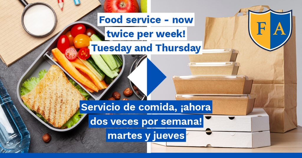 Meal pickups are now twice per week: Tuesdays and Thursdays