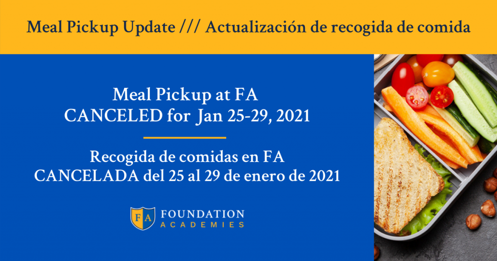 Meal pickup canceled for the week of Jan 25-29, 2021