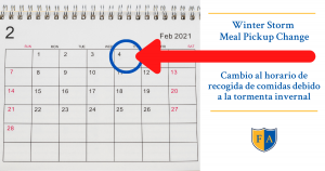 February 1, 2021 - Meal Pickup Schedule Change