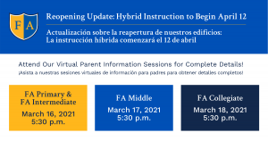 Reopening Update: Please Attend Our Parent Information Sessions for Details!