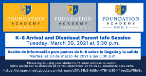 K-8 Arrival and Dismissal Info Session