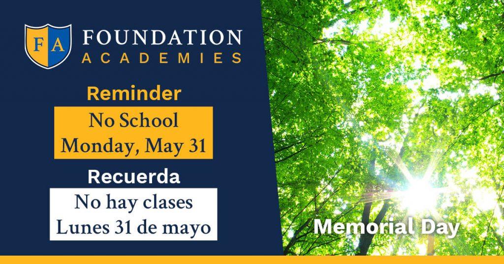 Memorial Day 2021 No School