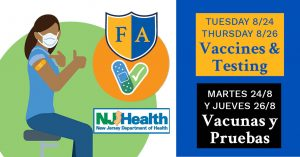 Covid vaccinations and testing Aug 24 & 26
